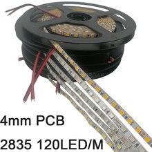 Tira de luces LED de 4mm de ancho, 5m, 2835, 120LED/M, 600SMD, 12V, Flexible, blanco, cálido, blanco, azul, verde, rojo, amarillo, IP20