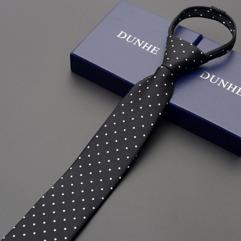 High Quality 2019 New Designers Brands Fashion Business 6cm Slim Ties for Men Dot Black Zipper Necktie Formal with Gift Box