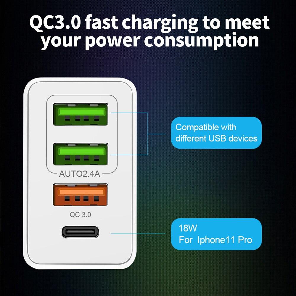 48 Вт USB Quick Charge 3,0 PD type C USB зарядное устройство для samsung iPhone huawei Tablet QC 3,0 быстрое настенное зарядное устройство US EU UK переходник
