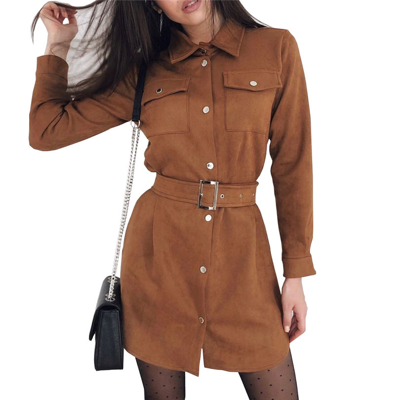 TAOVK Autumn Woman Solid Color Single Breasted Turn Down Collar  Long Sleeve Suede Dress With Belt