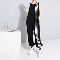 Korean Jumpsuit 2019 Summer Women's Suit Sleeveless Romper Jumpsuit Stripe Stretch Cuff Female Casual Loose Long Overalls Pants