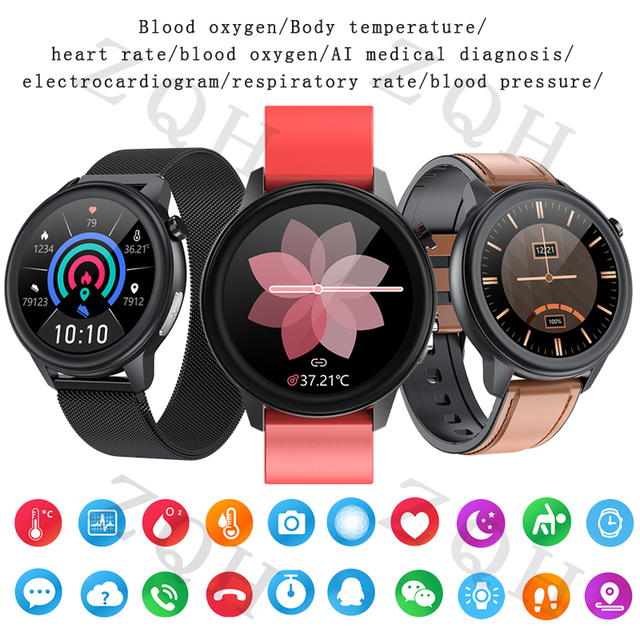 E80 Body Temperature Measurement Smart Watch PPG+ECG IP68 Waterproof Respiration Rate Fitness Tracker SmartWatch Wearable Device