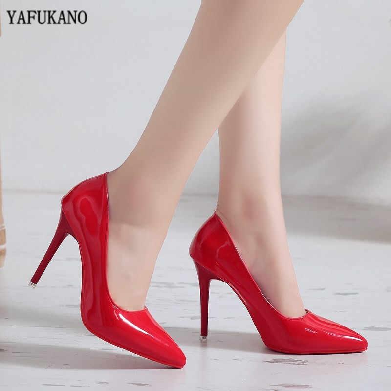 Zapatos de tacón alto sexis de Color Nude a la moda de 10cm, tacones finos, zapatos únicos de piel de charol rojo, zapatos de mujer para banquete de boda
