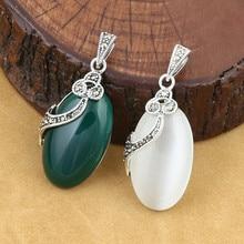 лучшая цена 925 Sterling Silver Pendant Jewelry Retro Thai Silver Women Models Marcasite Inlay Opal Couple Agate Pendant Accessories