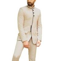Dinner Party Mandarin Collar Men Suit 2pc Set Wedding Banquet Groom Dress Business Smart Casual Modest Men Suits (Blazer+Pants)