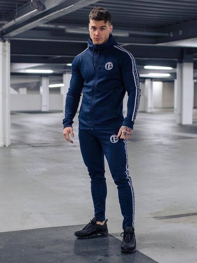 Men's Fitness Suit Spring Autumn Long Sleelve Running In The Morning Training Coats+casual Long Pants 2019 Jogger Slim Sportsuit