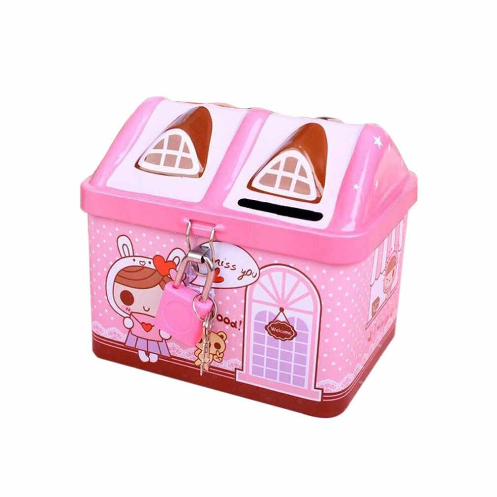 House Modeling Cute Iron Piggy Bank Bank Money Saving Box Children Kids Coin Deposit Box Best Birthday Gift