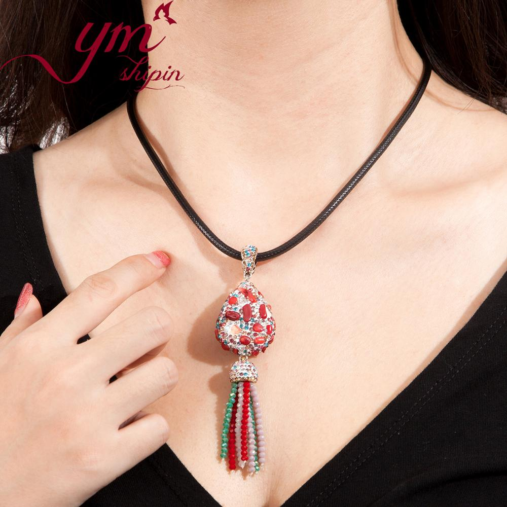 YMSHIPIN Pendant Necklaces Women Handmade Jewelry Necklaces Water Drop Pendant Colored Cubic Zircon Red Natural Stone Pendant