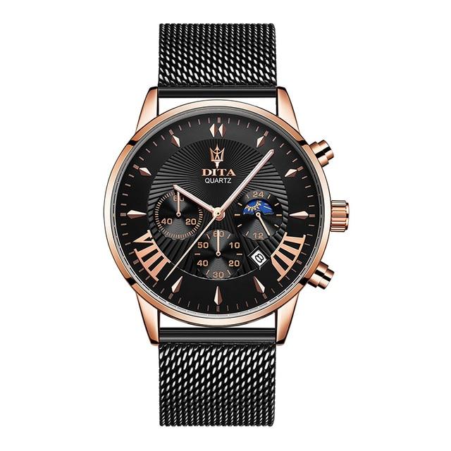 2019 luxe crazy sport rvs lederen horlogebandje band chronograaf man pols horloge