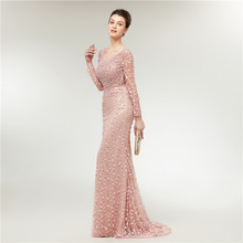 цена на Luxury Beaded Evening Dresses Long Sexy Mermaid V-neck Pink Lace Formal Dress Women Elegant Pearls With Long Sleeves Party Dress