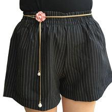 Elegant Women Flower Pearl Waist Chains Slim Skinny Metal Girdle Waistband Classic Dress Pants Chain Waist Chain Female Belts