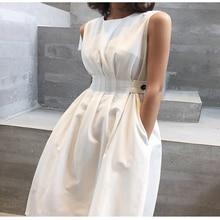 2020 Summer Women Solid White Fashion Elegant Casual Party Dress O neck Sleeveless Tank Sundress Female vestidos