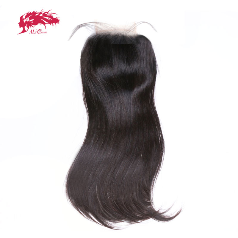 Ali Queen 4x4 / 5x5 Transparent Lace Closure Pre-Plucked With Baby Hair 10~20inch Brazilian Virgin Human Hair Straight Closure