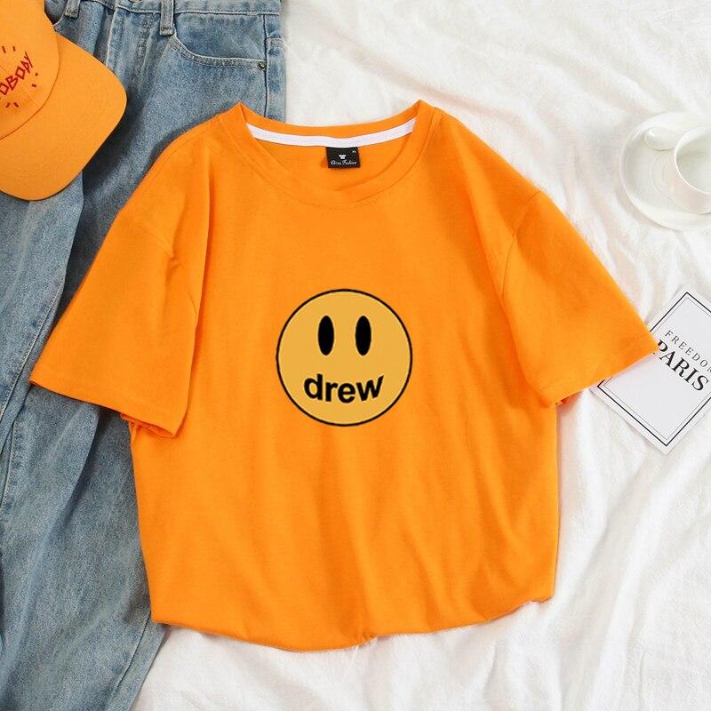 Justin Bieber Drew House Men Women Best Quality Top Tees Tshirt Summer Style Full Cotton Short Sleeve T-Shirts Street Wear