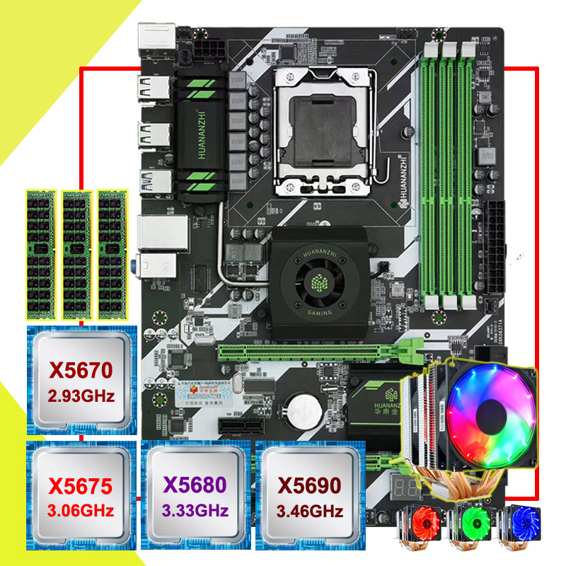 HUANANZHI X58 deluxe <font><b>motherboard</b></font> bundle custom made CPU Xeon <font><b>X5670</b></font>/X5675/X5680/X5690 with 6 heatpipes cooler RAM 48G(3*16G) RECC image