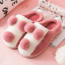 Womens Slippers Winter Large Size 43-47 TPR Lovely Fur For Girls Short Plush Flock House Woman