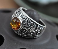925 Silver Vintage Mature Personality Fashion Pisces Inlaid Thai Silver Ring