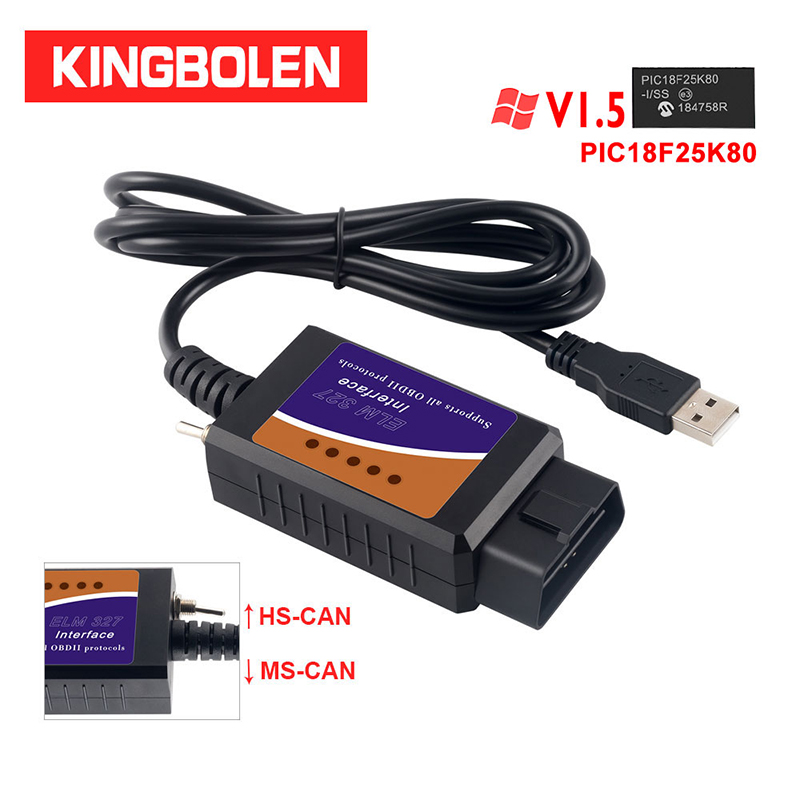 ELM327 USB V1.5 CH340+25K80 FTDI Chip Code Reader For Ford Hidden Function HS CAN/MS CAN ELM 327 Bluetooth OBDII Diagnostic Tool