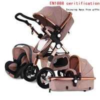 Livraison gratuite poussette bébé Land supérieur-scape Golden Baby 3 en 1 poussette pliante Portable 2 en 1 chariot de luxe