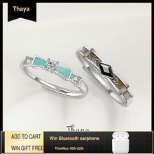 Thaya כסף אירוסין טבעת עבור נשים Genuine 925 כסף טבעות מבריק מעוקב Zirconia מסיבת תכשיטים מתנה