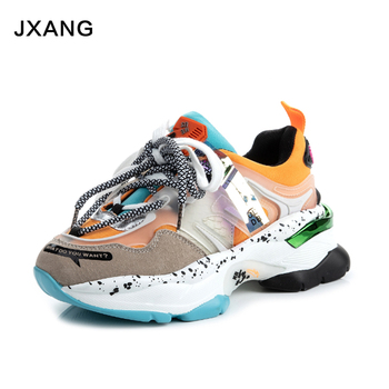 JXANG 2020 Women Chunky Sneakers Platform Tenis Female Pink Trainers Casual Shoes Designers Lace Up Dad Shoes Woman Fashion rasmeup women s platform clunky sneakers 2018 fashion lace up dorky women walking dad shoes casual white woman flats footwear