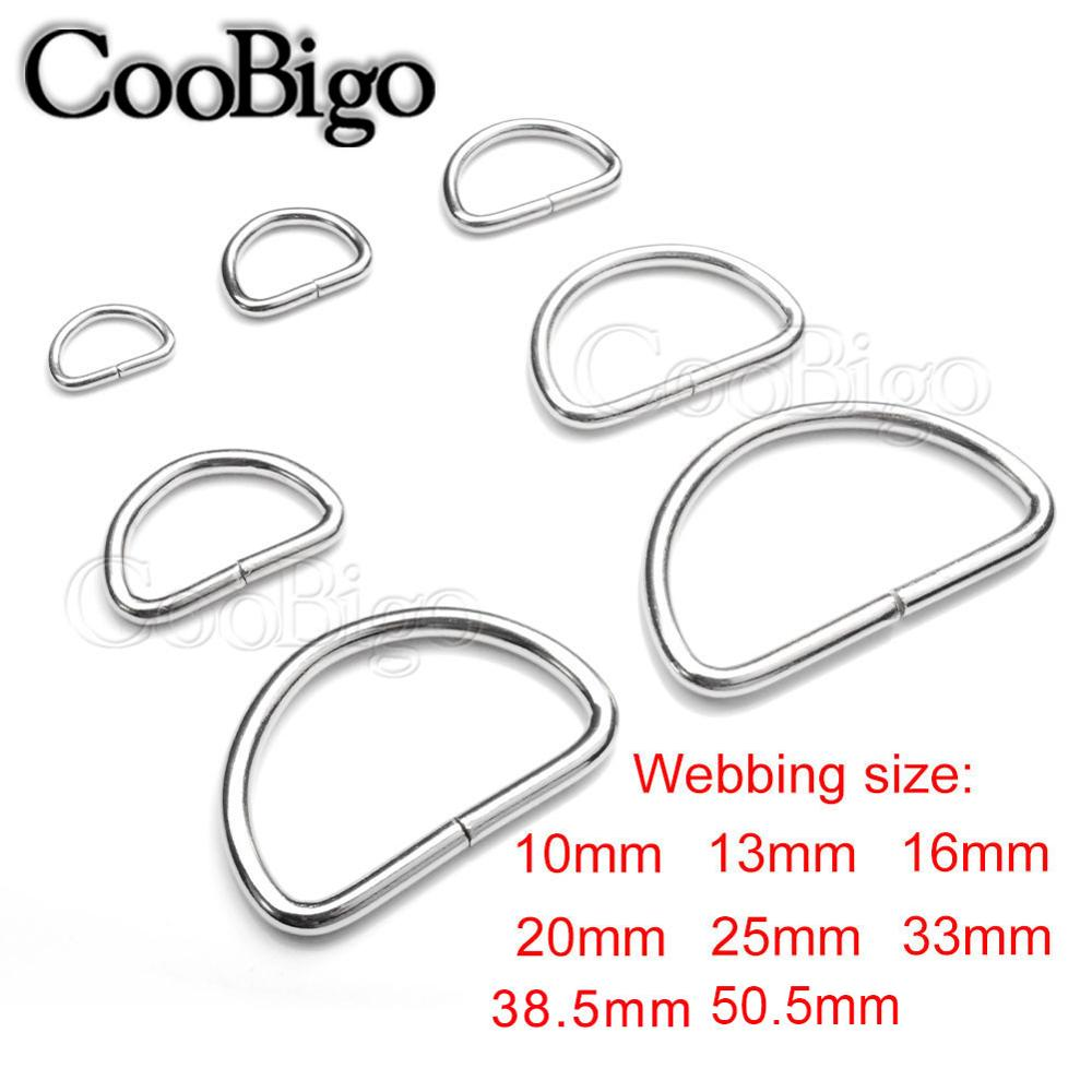 "1-1//2/"" NICKEL  D rings Dog  Bag Strap Leathercraft HEAVY DUTY 38 MM"