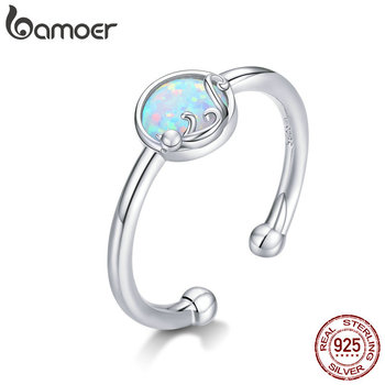 Bamoer 925 Sterling Silver Opal Stone Cat Rings For Women Adjustable Open Finger Band Fine Jewelry Korean Style Anel SCR651