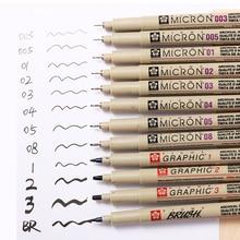 1Pc Pigma Micron Porous Point Pen Soft Brush Drawing Pen Liner Fineliner Sketch Needle Pen 005 01 02 03 04 05 08 1.0 Art Markers