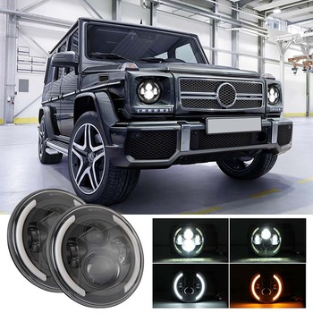 1Pair 7 Inch Headlight Led Highlight Round Headlight Far And Near Light With Angel Eyes Day Trip Suitable For Jeep