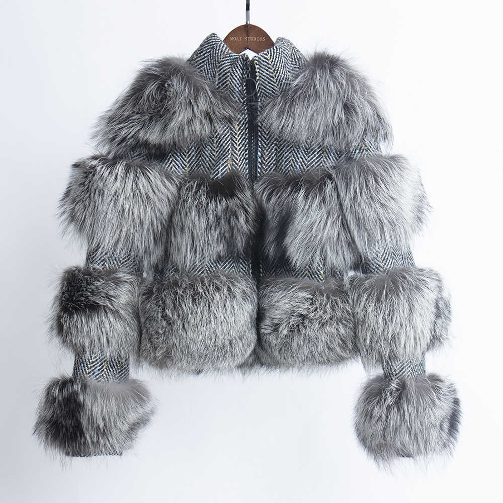 Abrigo de piel de zorro Real chaqueta de piel de mujer 2019 abrigo de lujo de invierno de marca abrigo de mujer talla grande abrigo corto