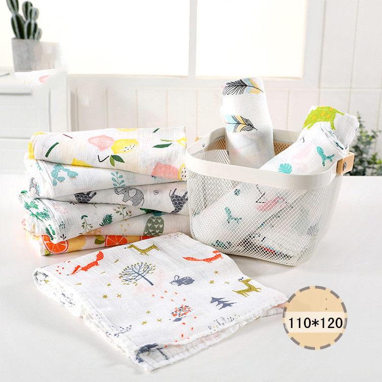 1PC 120cm*110cm Swaddle Blanket Baby Blanket Bamboo Muslin Blanket  Baby Blankets Newborn Blanket Swaddle Cotton