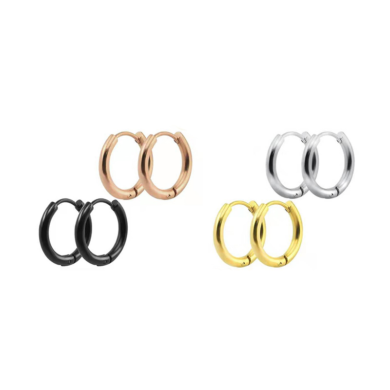 Stainless Steel Simple Golden/Rose Gold Color/Black Hoop Earrings Round For Women Men Small Circle Earrings Hug Hoops Buckle