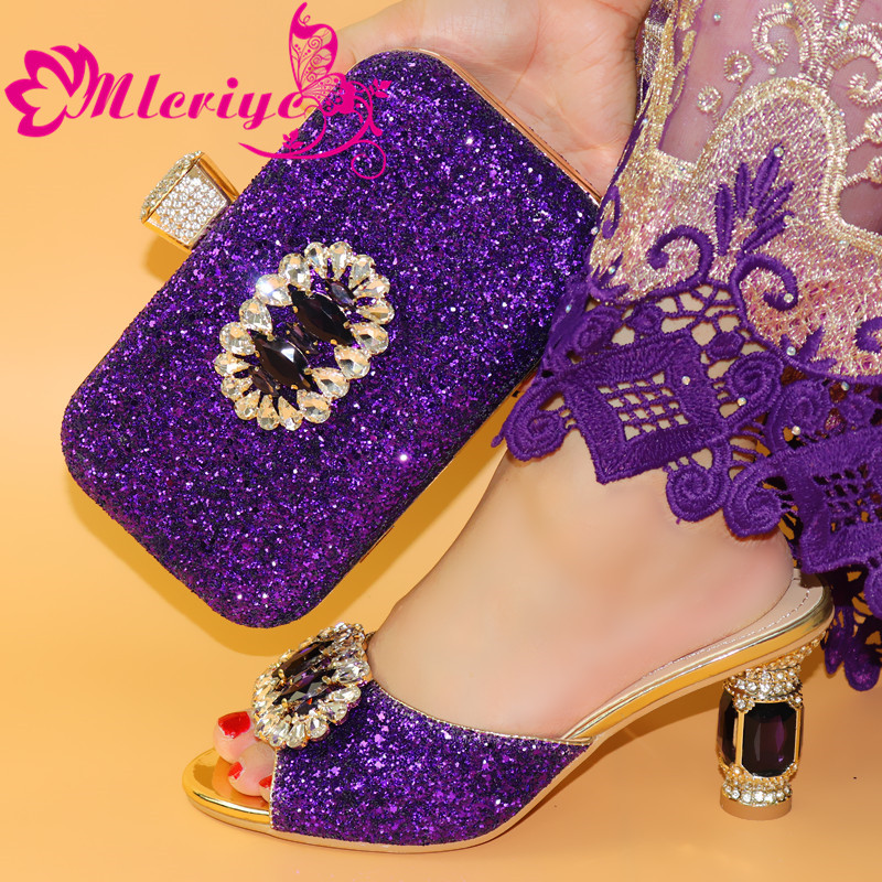 New Arrival Purple Color Shoes And Bag Set African Sets 2017 Shoes And Bags To Match African Shoe And Bag Set For Party In Women