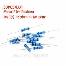 50PCS/LOT 1W 1% Metal film resistor 1% 1R ~ 1M 2R 10R 22R 47R 100R 330R 1K 4.7K 10K 22K 100K 470K 51 22 47 330 ohm resistance