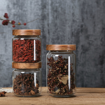 Wood Lid Glass Airtight Canister Kitchen Storage Bottles Jars Food Container Grains Tea Coffee Beans Grains Candy Jar Containers 3