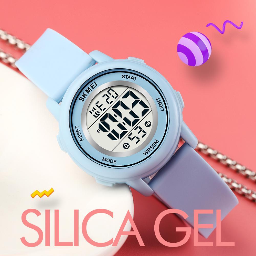 SKMEI силика гель дети часы красочные светодиод 50 м водонепроницаемый спорт студент часы для мальчиков девочек будильник дата дети электроника часы