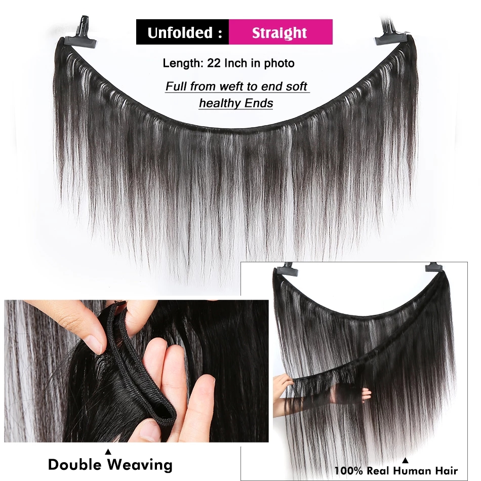 30 32 34 36 inch Indian Hair Straight Hair  Bundles 100% Natural  1 3 4 Bundles Double Wefts Thick  Hair 2