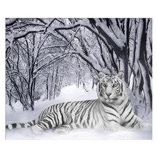 5D DIY full circle diamond painting winter snow scene tiger animal cross stitch embroidery mosaic rhinestone
