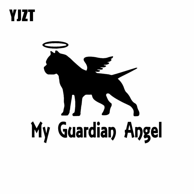 YJZT 14,2X11,1 см мой ангел-хранитель питбул автомобиль виниловая наклейка, стикер питбулл Американский бык собака черный/серебристый C24-1558