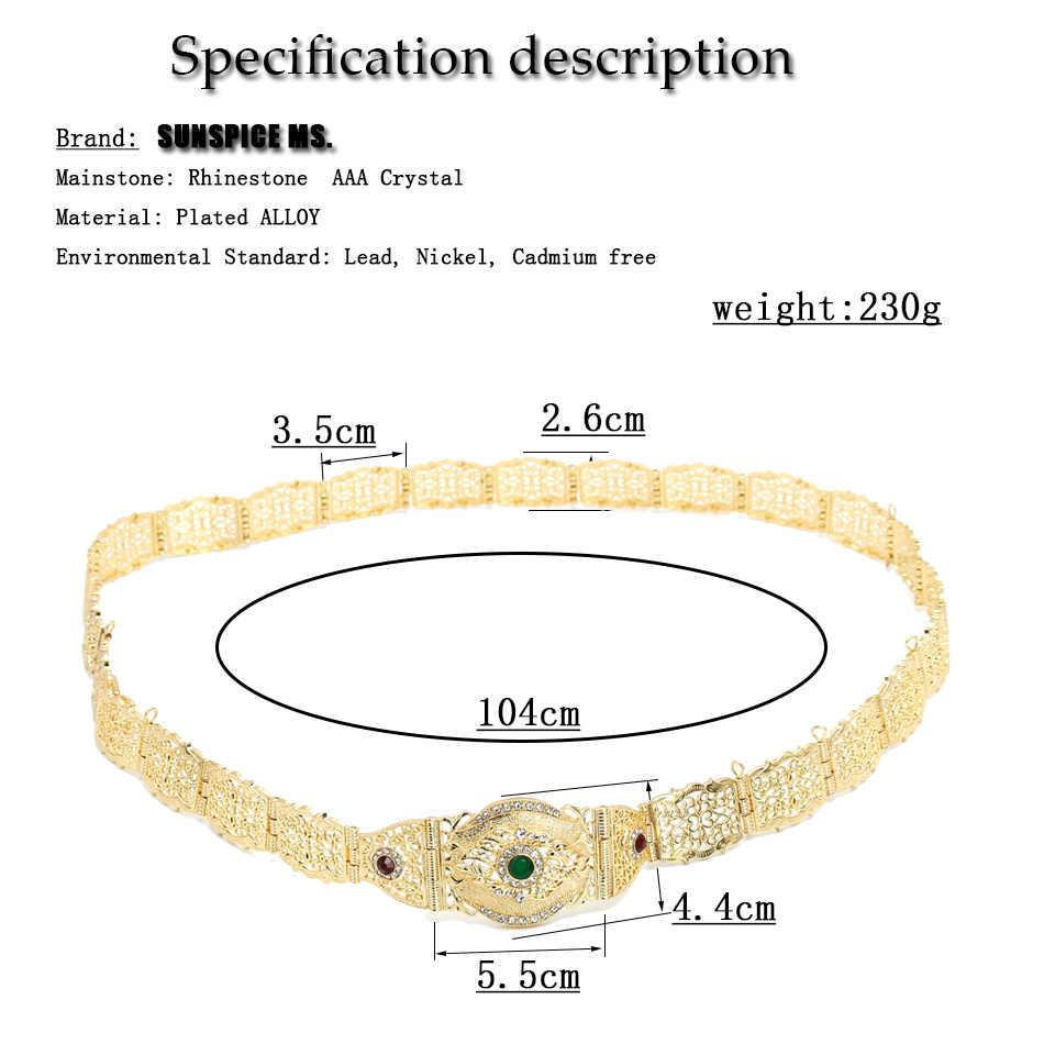 SUNSPICE-MS אופנה אירופאי חתונה חגורת גוף שרשרת לנשים זהב צבע ססגוניות קריסטל תכשיטי מותן מתכוונן אורך