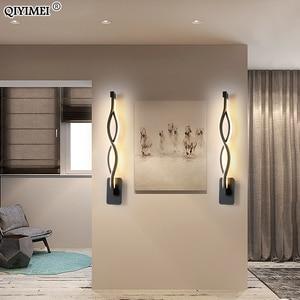 Image 3 - Nowoczesne minimalistyczne kinkiety salon sypialnia nocna 16W AC96V 260V LED kinkiet czarny biały lampa oświetlenie alejek dekoracji