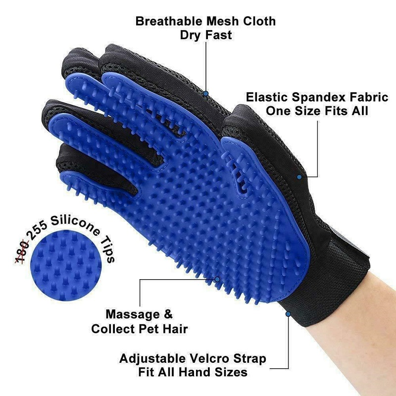 1Pair Silicone Touch Pet Grooming Glove Brush Cleaning Deshedding Dog Cat Fur Hair Removal bathing brushes Mitt Massage
