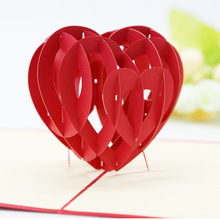 5pcs Paper Model Stereo 3D Love Hearts Thanks Greeting Card Valentines Day Gift Hollow Engraving Papercrafts