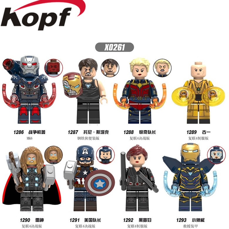 X0261 Super Heroes Avengers 4 Ancient One Pepper Blcak Widow Thor Captain America War Machine Building Blocks For Kids Toys