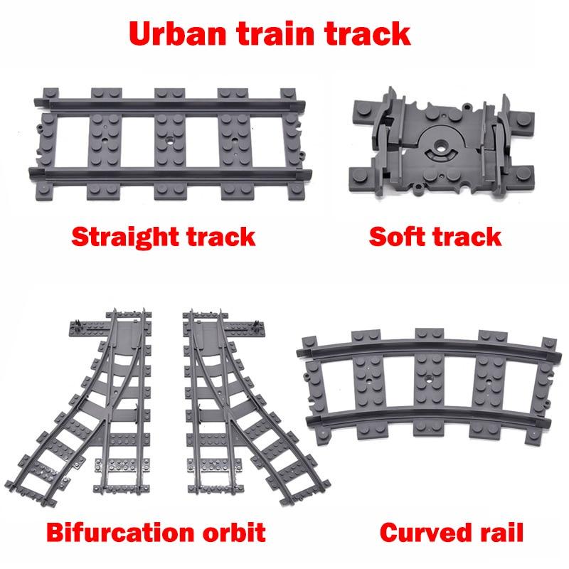 100 шт. город рельсы для поезда строительные блоки игрушки соответствует Поезд серии, чтобы построить большой сцене совместим со всеми бренд ...