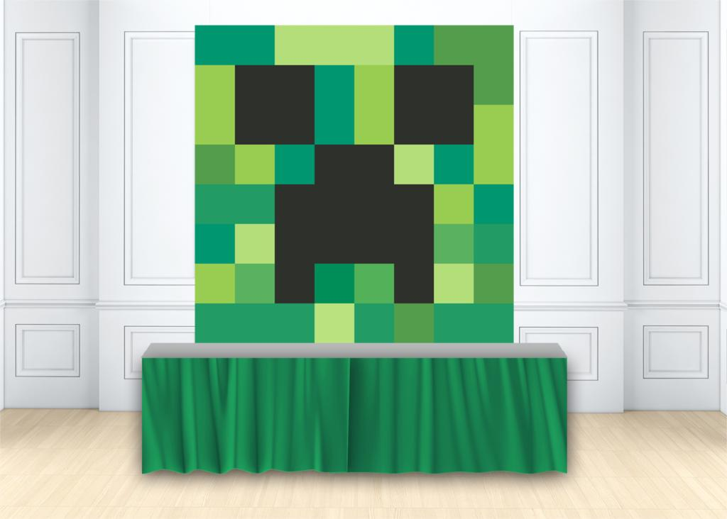 Birthday party backdrop video game Creeper Head Minecraft background photo background studio photophone photocall custom W-2155 image