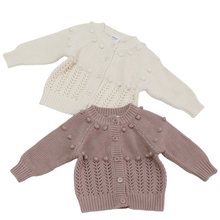 Baby Girls Cardigan Sweaters Toddler Kids Winter Cotton Pompom Knitted Woolen