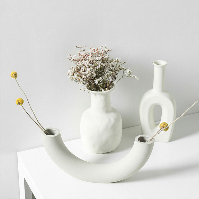 Nordic Ins Ceramic Vase Home Ornaments White Vegetarian Creative Ceramic Flower Pot Vases Home Decorations Craft Gifts 3