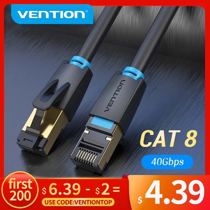 Vention Cat8 Ethernet Cable SSTP 40Gbps 2000MHz Cat 8 RJ45 Network Lan Patch Cord for Router Modem Internet RJ 45 Ethernet Cable