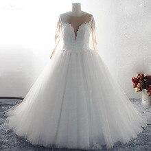 RSW1558 vestido De novia De manga larga con botones traseros De ilusión vestido De boda De talla grande